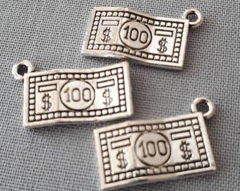 8pcs-2 sided-silver dollar charm-Antique silver Money charm