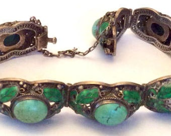 Persian Turquoise Bracelet, Chinese Silver,  Vintage Jewelry