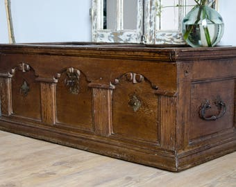 Superb Antique 17th Century French Oak Trunk / Coffer with Original Ironwork