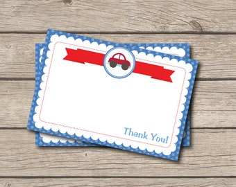 Car Thank You Note - Car Birthday Party Thank You Card - Digital Printable Thank You