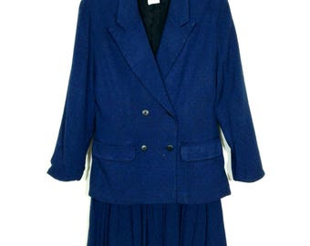 Vtg 1980s Pinstripe Petites Pleated Skirt Suit, Wn's Sz 4Petite
