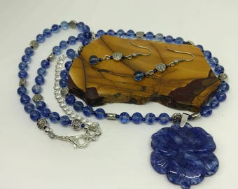 Gemstone Necklace Set - Blueberry Quartz Necklace and Earrings - Handmade Jewelry