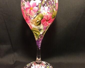 Hand Painted Tulip Wine Glass - Spring Garden - Pink