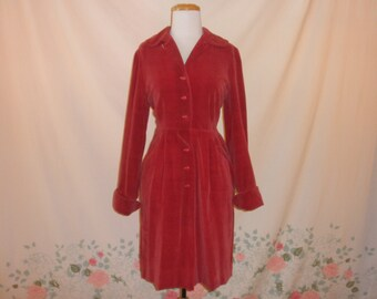 """40's / early 50's red cotton velour day dress 1940's button up collared pin up hourglass fitted shirtwaist winter day dress / M L 28"""" waist"""