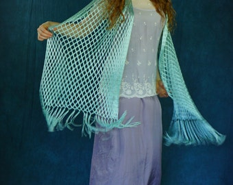 Sheer vintage fishnet shawl / soft misty glossy green fringed mermaid Stevie Nicks dreamy witchy gothic hippie oversize wrap