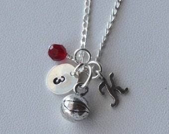 Sterling Silver Personalized Basketball Necklace, Birthstone Necklace, Birthstone, Sports Jewelry, Personalized Jewelry, Football Soccer