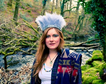 Handmade Feather Headdress,Grey/Silver Boho Gypsy Crown, Indian Headband