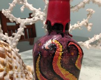 Sea Creature Painted Bourbon Bottle
