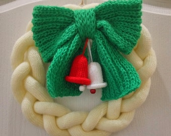 Christmas wreath knitted cable knit , home decor ,Holiday Wreath green ,winter decor ,
