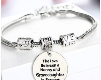 The love between a nanny & grandaughter is forever bracelet