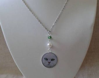 "necklace ""white Persian Cat"""