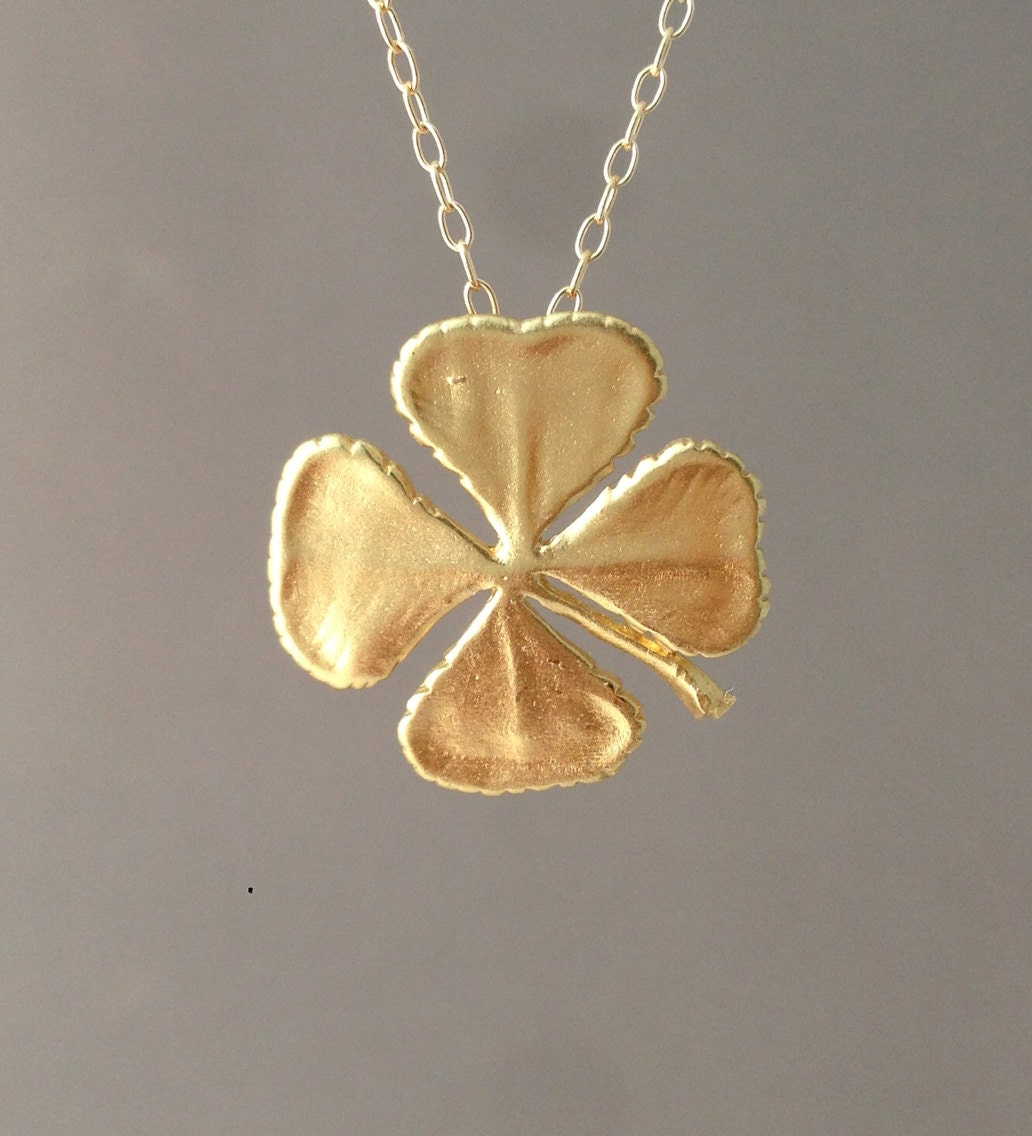lucky full clover gold necklace charm four sarah item leaf to expand click solid