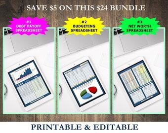 Financial Spreadsheet Pack, debt tracker, budgeting, saving, finance spreadsheet, debt payoff, debt snowball, debt planner, debt spreadsheet