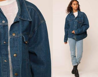 70s Denim Jacket Jean Jacket SADDLE KING Western Blue Oversize Vintage Biker 1970s Oversized Button Up Hipster Key Denim Large