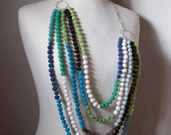 Five strand hand made tiny felt balls and sterling silver necklace
