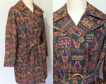 final sale -- Vintage 1960s Tapestry Belted Jacket