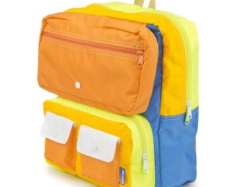 Faux Roll Top Backpack Orange/Neon Yellow