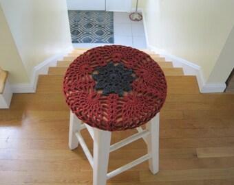 Stool Cover, Crochet Bar Stool Cover - redwood heather/dark grey (CBSC1D)