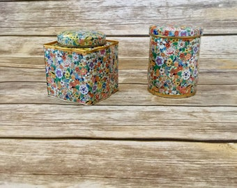 2 Vintage Floral Made in England Tins // Decorative Vintage Tin // Retro Floral Pattern //