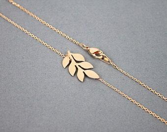 Tiny Rose Gold Leaf Charm Necklace, Girls Necklace, Rose Gold Leaf Pendent Necklace,Bridal Shower Gift,Birthday Gift
