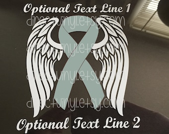 Gray Awareness RibbonAngel Wings Window Decal (Brain Tumor, Brain Cancer, Allergies, Aphasia, Asthma, Diabetes, Parkinson's)