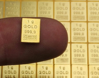 Pure gold 24K purity in thousandths bar: X 1 gram of investment gold 999.9