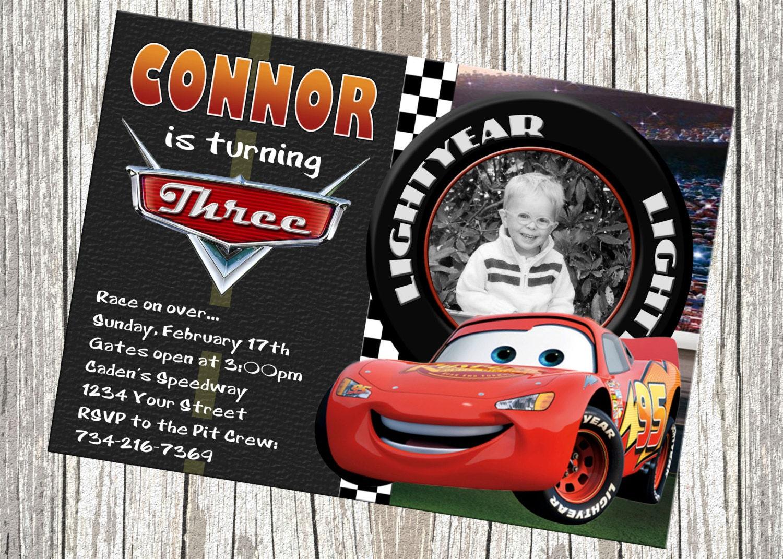 Lightning McQueen Disney Cars Birthday Invitation Custom