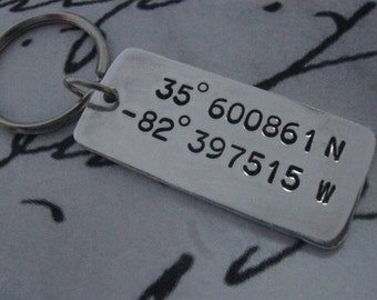 Custom Coordinates, Latitude Longitude Keychain, Coordinates Keychain, Anniversary Gifts For Men, Long Distance Relationship