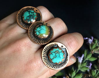 Turquoise Copper ring - Round Ouroboros Adjustable ring - handmade in Austin, Texas