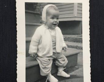 "Vintage Photograph, ""Baby Giggles"", Black and White Photography, Antique Photo, Found Paper, Scrapbook Ephemera"