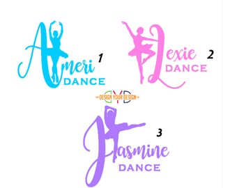 Cute Dance Decal - Adhesive or Iron On - With Name
