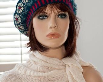 Hand knitted fair isle beret / tam, jacquard beret, flower motifs, dark turquoise/ navy blue, yellow, red,woolen beret,for women,for girls.