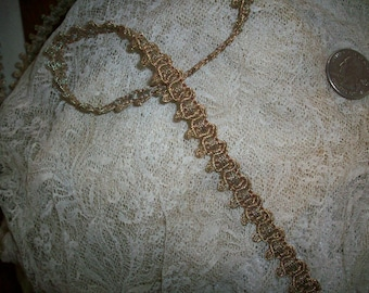 1 yard of an gorgeous silvery light gold color real metal antique trim,  more avail.