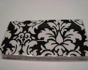 Checkbook Cover , Holder - Black and White Damask