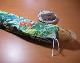 Exotic baguette bag, decorated with flowers and birds. Cotton, washable and reusable