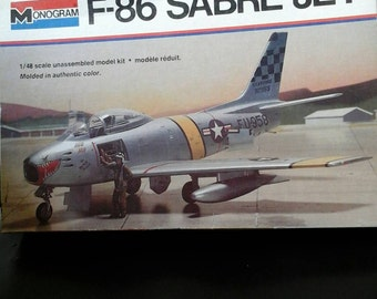Model Airplane F-86 Sabre Jet Fighter 1/48 scale kit Monogram c.1976 Aircraft Military Korean War Royal Canadian Italian Air Force Cold War