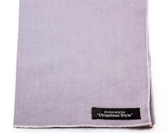Gray with Gray Trim Stitching Pocket Square