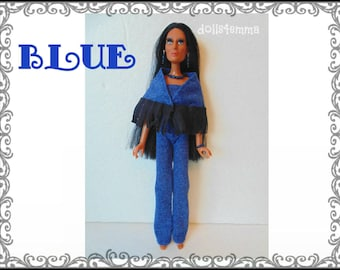 CHER Doll Clothes -Retro fringe Poncho, Jumpsuit and Jewelry - fits vintage Mego Farrah, Tennille - Custom Fashion - by dolls4emma
