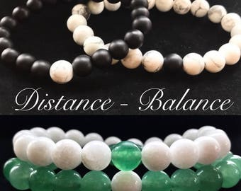 2 (TWO) Distance Bracelets Balance Friendship Relationship Family Love Happiness Together