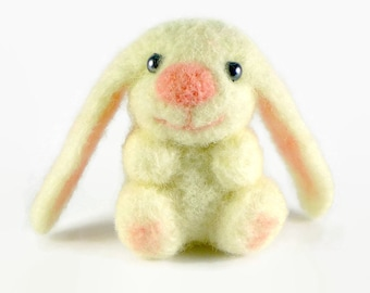 Needle Felted White Easter Bunny, Easter Decorations, Easter Bunny Decor, Small Felted Bunny, Wool Toy