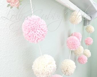 Pom Pom Garland  - Pink & Ivory Pom Poms -Yarn - Birthday Garland - Baby Girl - Nursery  Decor - Bridal Shower - Wedding - Photo Prop