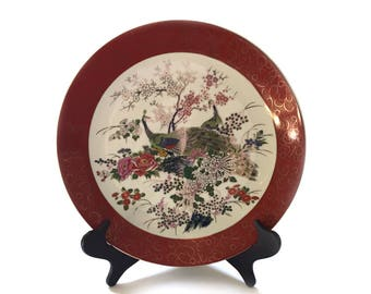 """14"""" Satsuma Peacock Plate - Collectible Asian Decorator Plate - Home Decor Plate and Stand"""
