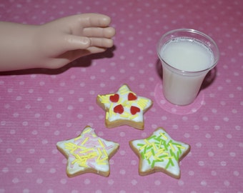 """3 Cookies for 18"""" dolls like American Girl and My Generation cut out cookies, Photo prop"""