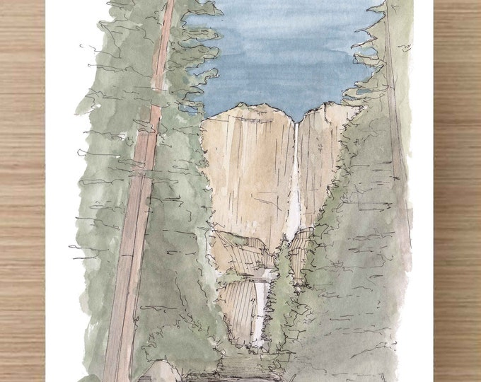 Ink and Watercolor Drawing of Yosemite Falls (1) - Yosemite National Park, Waterfall, Landscape, Sketch, Art, Pen and Ink, 5x7, 8x10