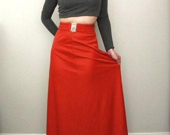Vintage Burnt Orange High Waisted Belted Maxi Skirt