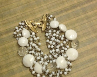 Beautiful vintage 80's white multi-strand beaded bracelet