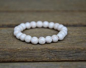 White Magnesite Yoga Bracelet/Boho Bracelet/Meditation Bracelet/Intention Bracelet