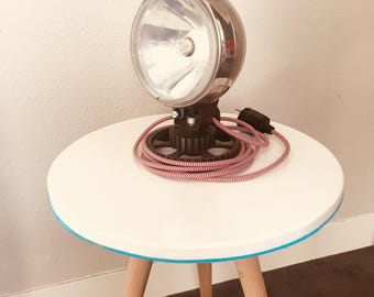 Vintage Car headlight table lamp with red white fabric cord