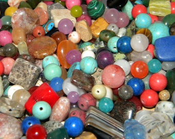 NEW 10oz/per Lot of 6mm-20mm Semi-precious & Gemstones, Natural Stones Assorted mix of Loose lot of Beads ALL DRILLED