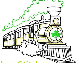 Green Shamrock Sketched Quick Stitch Train Embroidery design     INSTANT DOWNLOAD
